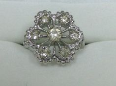 """Cluster Ring 18Kt White Gold HGE Sterling  Vintage Flower Bouquet  5/8"""" diam Cocktail Ring Size 6"""