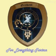 Clan Graham of Menteith Tartan Woodcarver Wooden Wall Plaque Crest 7 x 8