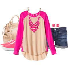 oatmeal/hot pink baseball t, dk wash boy shorts, hot pink keds/vans, cream bag, hot pink bubble necklace, hot pink studs