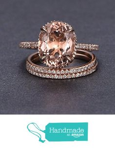 Oval Morganite Engagement 3 Ring Bridal Set Pave Diamond Wedding 14K Rose Gold 10x12mm from the Lord of Gem Rings http://www.amazon.com/dp/B01GSA6KIQ/ref=hnd_sw_r_pi_dp_5rlwxb1XJ5EQY #handmadeatamazon