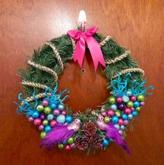DIY Christmas Wreath Tutorial   Neon Rattail