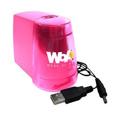 Crayon Sharpeners - Electric Pencil Sharpener by WOA  Essential Desk and Classroom Supplies Portable with 2 Power Sources Durable Helix Cutter Creates Professional Sharpened Tip Safety AutoOff Pink >>> Learn more by visiting the image link.