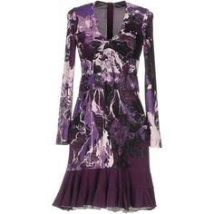 Roberto Cavalli Short Dress ($850) ❤ liked on Polyvore featuring dresses, purple, long sleeve jersey, long sleeve mini dress, flutter-sleeve dress, short ruffle dress and roberto cavalli dresses