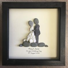 Wedding gift Pebble Art, Personalised unique Pebble picture, framed rustic home decor, stone wall art, ideal for beach wedding theme - Kiesel Kunst Hochzeitsgeschenk personalisierte einzigartiges Personalised Gifts Unique, Personalized Wedding Gifts, Unique Gifts, Handmade Wedding Gifts, Handmade Gifts, Stone Crafts, Rock Crafts, Pebble Pictures, Art Pictures