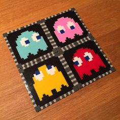 Pac-Man ghost coasters made with perler beads