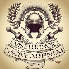 Strength and Honor / VIS •ET•HONOR. Слабоумие и отвага ;) #tattoo #sketch #wacom