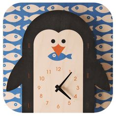 Penguin Clock,This wall clock is hand designed and made in the USA from laser cut birch plywood and non-toxic water-based inks. Features a pre-drilled hole for easy hanging. Kitsch, Clock For Kids, Kids Clocks, 3d Wall Clock, Wall Art, Penguin Love, Penguin Parade, Penguin Baby, Baltic Birch Plywood