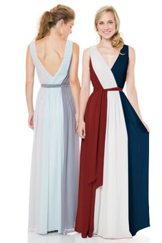 Red, white, and blue Bari Jay Style 1501  #bridesmaid #bridesmaiddress #bridesmaiddresses #longbridesmaiddress