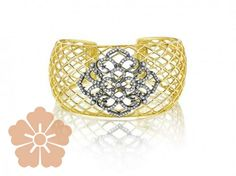 Penny Preville diamond criss-cross cuff with lace center