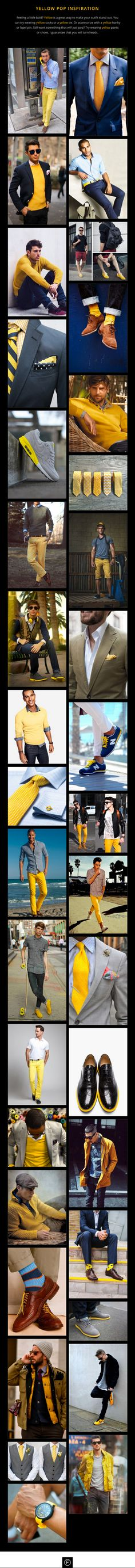 Feeling a little bold? Throwing in a bit of yellow is a great way to make your outfit stand out in the crowd. Be inspired with the yellow pop collection. #mensfashion #yellow