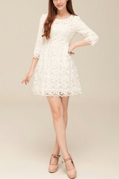 White cropped quarter sleeve lace dress.