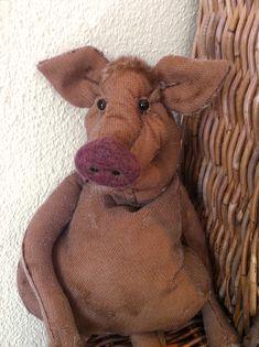 Schwein (Klappmaulpuppe aus Mohair).