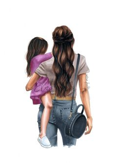 Mother and daughter - fashion illustration - mother and child - mother and daughter - gifts for . - Mother and daughter – fashion illustration – mother and child – mother and daughter – gifts - Mother Daughter Art, Daughters Day, Mother Art, Mother And Child, Daddy Daughter, Girly, Illustration Mode, Presents For Her, Gifts For Her