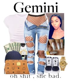 """""""Gemini♊️"""" by bow-girl531 ❤ liked on Polyvore featuring MCM, Vans and Rolex"""