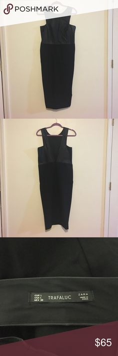 Zara dress *brand new* the top of the dress leather material bottom is thick stretch material Zara Dresses Midi