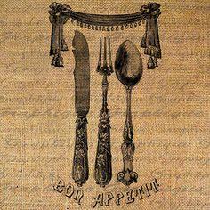 Bon appétit en francais fourchette couteau cuillère argenterie Digital Image Télécharger transfert d'oreillers Tote torchons jute no 1470