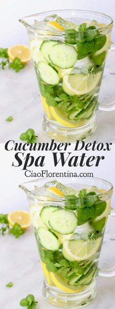 Cucumber Detox Spa Water with Lemon and Mint + Ideas and Benefits (flavored water recipes benefits of) Water Recipes, Detox Recipes, Healthy Recipes, Juice Recipes, Drink Recipes, Bebidas Detox, Spa Water, Voss Water, Healthy Detox