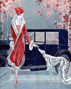 Elegant flapper with dog. 1929  http://www.vintagevenus.com.au/vintage/reprints/info/FAS470.htm