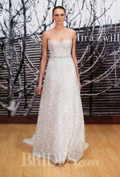 """Brides.com: Mira Zwillinger - 2014-2015%0A""""Melena"""" strapless embroidered A-line wedding dress with a sweetheart neckline and jeweled belt, Mira ZwillingerPhoto: Thomas Iannaccone"""