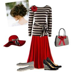 """""""Red  Stripes"""" by estes9011 on Polyvore"""