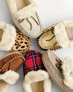 Crew women's lodge moccasins, crackled metallic suede lodge moccasins, red plaid lodge moccasins and leopard calf hair lodge moccasins. To pre-order, call 800 261 7422 or email verypersonalstyli. Crazy Shoes, Me Too Shoes, Isotoner Slippers, Winter Slippers, Winter Shoes, Womens Slippers, Autumn Winter Fashion, Winter Style, Tartan