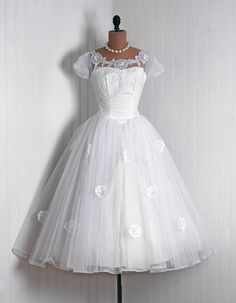 1950's White Tulle and Taffeta Lace Trimmed Tea Length Wedding Dress