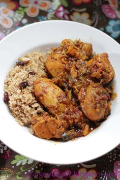 Moroccan Chicken with couscous. This was so good. The hubby raved. It tastes exotic but it's not complicated and so healthy...I used only chicken legs, prob about 15, with the skin removed. The cilantro was not necessary...not changing anything else!