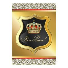 Regal Red and Gold Prince Baby Shower Invite