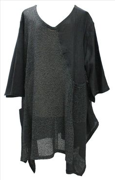 AKH Fashion Lagenlook verrückter Leinenpullover Leinentunika in schwarz XXL Mode bei www.modeolymp.lafeo.de