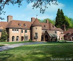 A showhouse at a beautiful North Carolina estate Tudor Style, Spiral Staircase, Traditional House, House Tours, Beautiful Homes, Places To Go, Exterior, Mansions, Interior Design