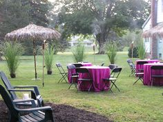 Fun Theme Parties | Tropical theme party at home | tiki torches, thatch umbrellas and potted grasses | Westchester New York | Bedford Village Florist