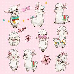 Collection cute llama alpaca vicuna set kawaii vector image on VectorStock Alpacas, Cute Alpaca, Llama Alpaca, Kawaii Alpaca, Illustration Mignonne, Cute Illustration, Animal Drawings, Cute Drawings, Animaux