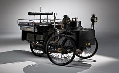 "World's oldest running automobile -- ""Recently sold at auction for [4.6 million dollars], this is an 1884 De Dion Bouton Et Trapardoux Dos-A-Dos Steam Runabout.""  Click through for more fun facts about it."