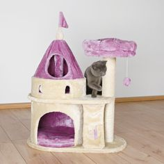 This darling Cat Condo Castle is ideal for kittens and small breed cats. You can treat your cats like royalty with this plush cat condo castle. This Castle Cat Tower is made from manufactured wood, which ensures strength and durability. Cat Tree Condo, Cat Condo, Cat Castle, Cat Stairs, Cat Scratching Post, Pink Lotus, Pet Furniture, House Furniture, Furniture Deals
