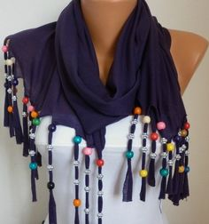 Purple Bead Tricot ScarfBridal ShawlWedding by anils on Etsy