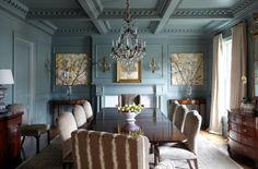 Exquisite Dining Room - Farrow-Ball-Green-Blue-English-Country-Dining-interiors by color