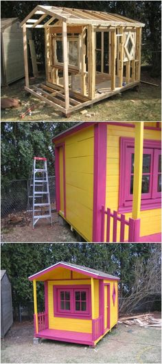 diy projects with pallets | How to make pallet playhouse: Here