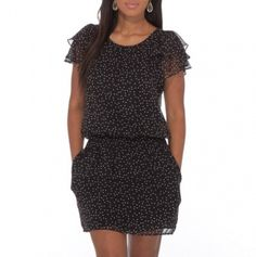 Ruffle Sleeve Polka Dot Dress with Pockets