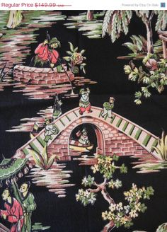 ON SALE Vintage Bark Cloth Nanking Asian Inspired by EarthsTrove, $127.49