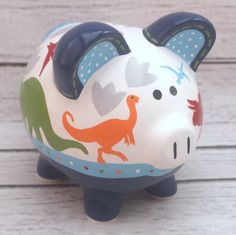 Personalized Piggy bank Dinosaur Artisan hand by Alphadorable The Little Couple, Personalized Piggy Bank, Piggly Wiggly, Dinosaur Nursery, China Painting, Pottery Painting, Porcelain Ceramics, Baby Shower Gifts, Art For Kids