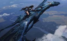 Marvelous image of a warrior woman with long black hair riding a blue dragon. Great view of the landscape below as if the dragon rider is on patrol. Fantasy Kunst, Sci Fi Fantasy, Fantasy World, Dragon Knight, Dragon Rider, Dragon Warrior, Magical Creatures, Fantasy Creatures, Splash Art