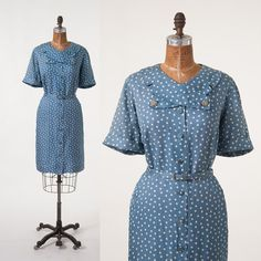 Vintage 1950s Polkadot Dress: 50s Blue Polkadot Shirtdress, Mid Century Blue Day Dress, Large XL Plus, Women's Clothing, Dresses
