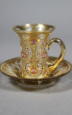 Moser Glass Tea Cup and Saucer , 1905