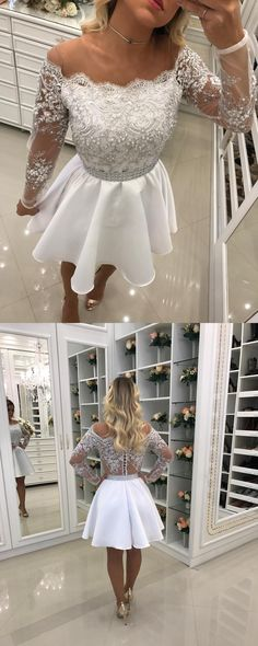 homecoming dresses, wedding reception dresses, 2017 short homecoming dress, short white homecoming dress, off the shoulder long sleeves homecoming dress
