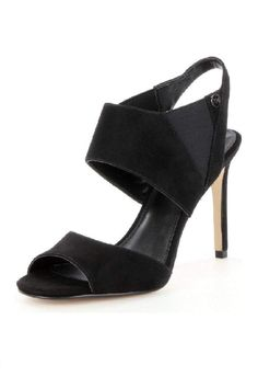 From MICHAEL Michael Kors, the sexy and sophisticated Marti sandals feature: - Kid suede upper - Slip on with elasticized inserts for ease - Synthetic lining - Padded insole - Rubber outsole    Heel height: wrapped 3 inch heel   Black Heeled Sandal by Michael Kors. Shoes - Sandals - Heeled Canada
