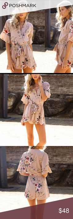 Romantic floral romper Gorgeous floral romper. Ruffle details on sleeves and front bottom.also available in smaller sizes on separate listing Pants Jumpsuits & Rompers