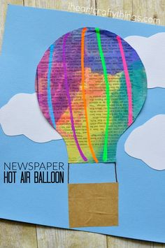 This colorful watercolor painted newspaper hot air balloon craft is so cute and perfect for a spring kids craft. Kids will love getting creative by drawing unique and special designs on their hot air balloon kids craft.