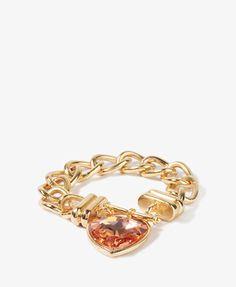 Rhinestone Heart Chain Bracelet | FOREVER21 - 1021840755