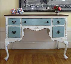 San Francisco: Vintage Desk or Vanity - Queen Anne Colorful Furniture, Unique Furniture, Upcycled Furniture, Furniture Projects, Furniture Making, Furniture Makeover, Vintage Furniture, Diy Furniture, Vintage Desks