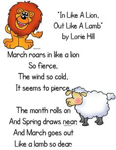 In Like a Lion ~ Out Like a Lamb Kindergarten Poems, Preschool Songs, Preschool Activities, Class Activities, Language Activities, Kindergarten Classroom, Lion Lamb, Lion Craft, March Themes